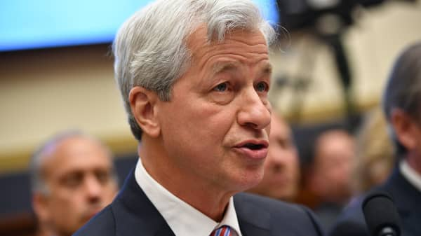 JP Morgan Chase & Co. Chairman & Chief Executive Officer Jamie Dimon testifies before the House Financial Services Committee on accountability for megabanks in the Rayburn House Office Building on Capitol Hill in Washington, DC on April 10, 2019.