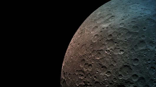 A print of a moon taken by SpaceIL's Beresheet booster in orbit.