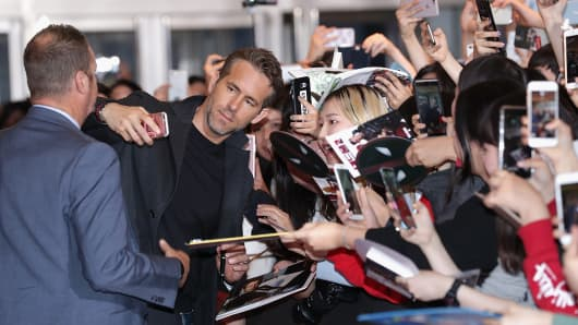 Actor Ryan Reynolds attends the Seoul premiere of 'Deadpool 2' at the Lotte Cinema on May 1, 2018 in Seoul, South Korea.