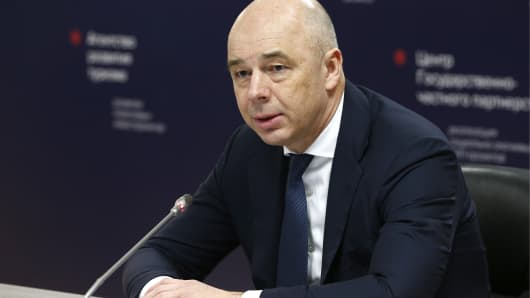 Anton Siluanov, Russia's Finance Minister and First Deputy Prime Minister, holds an extended meeting with foreign investors on his visit to the Samsung Electronics plant in the Vorsino industrial park.