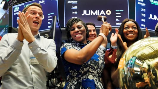 Jumia co-executive Sacha Poignonnec, who praised Jumia Nigeria Chief Executive Juliet Anammah, replaces a ceremonial bell when the trading company stock is started, on the New Stock Stock floor, Friday, 12 April, 2019.