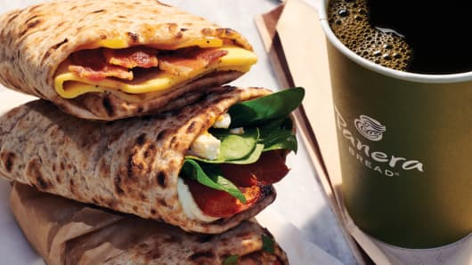 Panera Breakfast Wraps and Coffee
