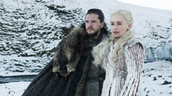 "Kit Harington (Jon Snow) and Emilia Clarke (Daenerys Targaryen) star in Season 8 of HBO's ""Game of Thrones""."