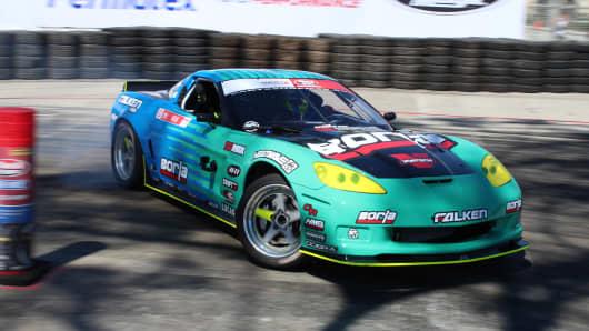 Matt Field's LS-based, V-8 powered Chevrolet C6 Corvette at Formula Drift's media day in Long Beach