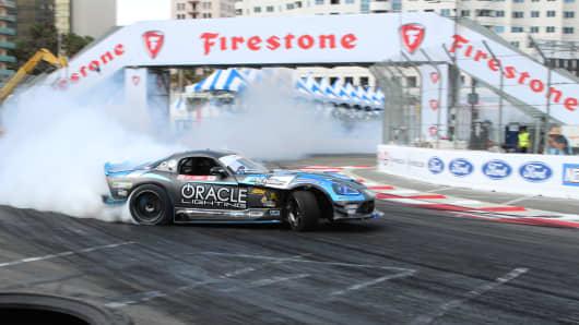 Dean Kearney's Dodge Viper drift car, powered by a V-10 engine, at Formula Drift's media day in Long Beach