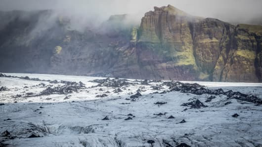 VIK, ICELAND - SEPTEMBER 02: General view of Myrdalsjokull Glacier in Katla Geopark on September 2, 2018 in Iceland. If the climate continues to warm there is a possibility that the glaciers will virtually disapear in 100 to 200 years.