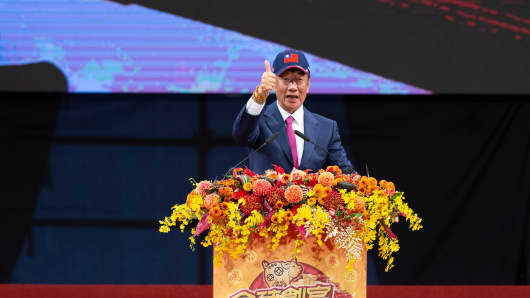 Terry Gou, chairman of Foxconn Technology Group, gives a thumbs up as he speaks during a company event in Taipei, Taiwan, on Saturday, Feb. 2, 2019.
