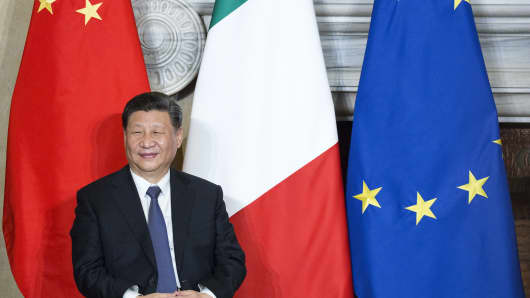 Chinese President Xi Jinping reacts during the signing of a memorandum of understanding on China's Belt and Road Initiative in Rome, Italy, on March 23, 2019.