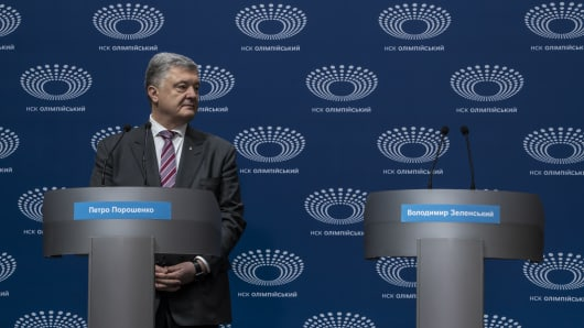 Ukrainian President Petro Poroshenko holds a news conference at Olympiskiy Stadium on April 14, 2019 in Kiev, Ukraine. Zelensky, a television comedian making his first run for political office, challenged President Poroshenko to a debate at the stadium ahead of the April 21 vote, but due to a disagreement over dates, Zelensky did not show up to the event organized by Poroshenko.