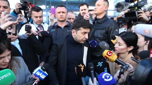 Ukrainian presidential candidate Volodymyr Zelensky seen talking to the media during his visit to the medical center for a test. On April 3, 2019 presidential candidate Volodymyr Zelenskiy declared his readiness to go to the debate before the second round of presidential elections with Ukrainian President and presidential candidate Petro Poroshenko, however, he voiced a number of conditions, in particular, the debate should be held at the Olympiyskiy stadium in Kiev, and candidates must pass a test for alcohol and drugs.