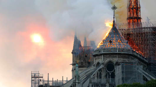 Flames burn the roof of the landmark Notre-Dame Cathedral in central Paris on April 15, 2019.