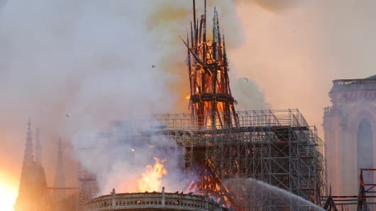 Image result for fire at notre dame cathedral