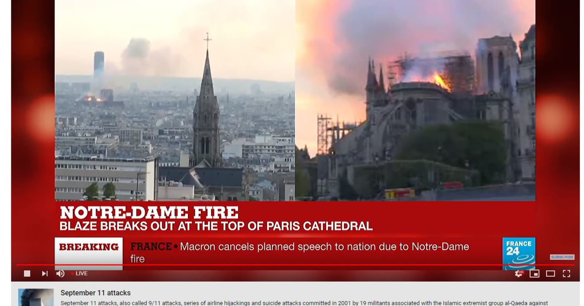 YouTube placed a link to info about 9/11 attacks under Notre Dame fire videos