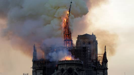 The steeple of the landmark Notre-Dame Cathedral collapses because the cathedral is engulfed in flames in central Paris on April 15, 2019.