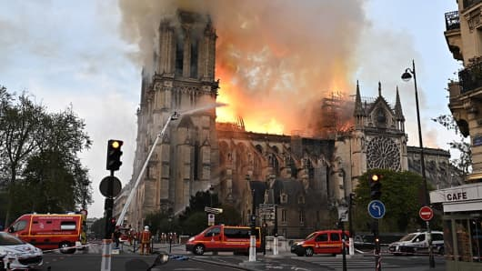 Notre-Dame de Paris, a Catholic cathedral founded in the 11th century, has caught fire.
