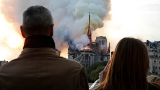 People react as they watch flames engulf the roof of the Notre-Dame de Paris Cathedral in the French capital Paris on April 15, 2019.