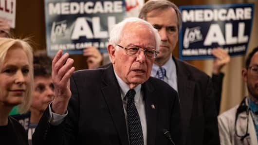 Senator Bernie Sanders, an Independent from Vermont, speaks during a press conference introducing the Medicare for All Act of 2019 in Washington, D.C., U.S., on Wednesday, April 10, 2019.