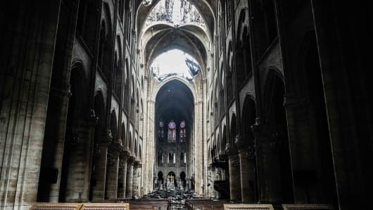 Fallen debris from the burnt out roof structure sits near the altar inside Notre Dame Cathedral in Paris, France, on Tuesday, April 16, 2019. Authorities declared Tuesday morning that the blaze had been contained as firefighters hosed the south side of the transept to cool down the building, and a district around the cathedral was sealed as military and police patrolled the area. Photographer: Christophe Morin/Bloomberg via Getty Images