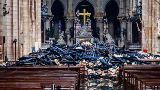 A view of debris inside Notre-Dame Cathedral, in Paris, France, April 16, 2019. Christophe Petit Tesson/Pool