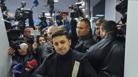Ukrainian presidential candidate, Volodymyr Zelensky seen surrounded by the media during the blood test for the content in the body of alcohol and drugs.