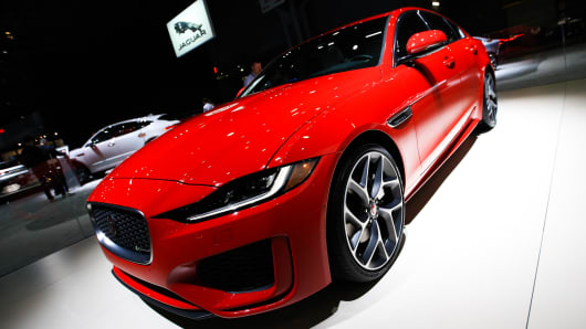 Jaguar shows off high-tech upgrades to classic XE sports car at New York auto show