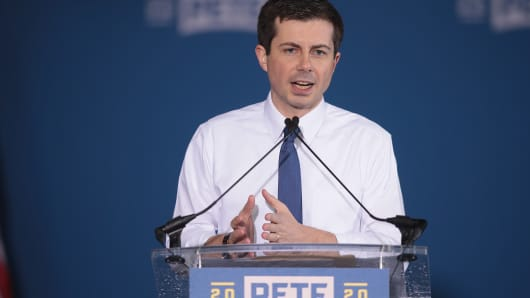 SOUTH BEND, INDIANA - APRIL 14: South Bend Mayor Pete Buttigieg announces that he will be seeking the Democratic nomination for president during a rally in the old Studebaker car factory on April 14, 2019 in South Bend, Indiana.