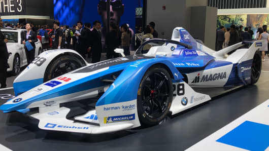Check out BMW's first electric race car at the Shanghai Auto Show — hot off the tracks