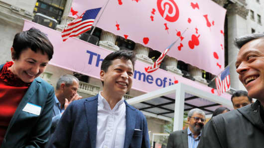 Pinterest begins its first day of trading at $23.75, up 25%