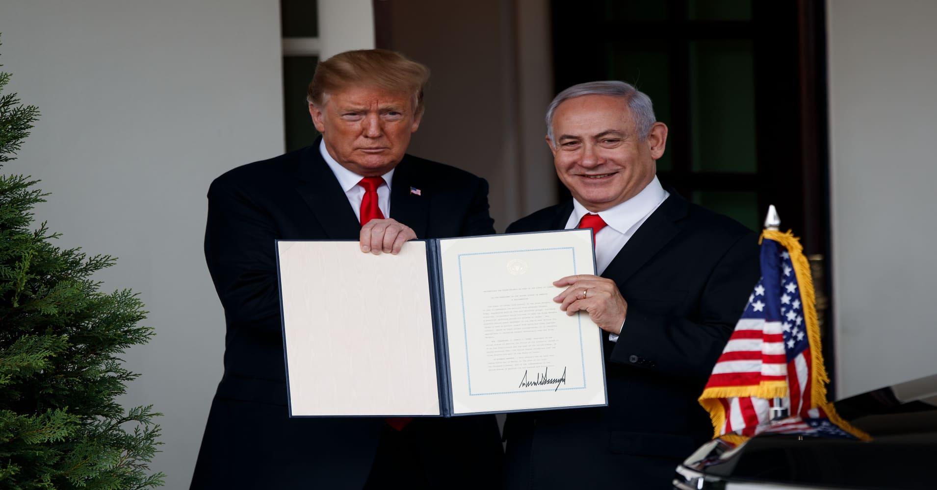 Benjamin Netanyahu wants new Golan Heights town named for Donald Trump