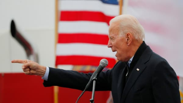 Former U.S. Vice President Joe Biden, a potential 2020 Democratic presidential candidate, speaks at a rally with striking Stop & Shop workers in Boston, Massachusetts, U.S., April 18, 2019.