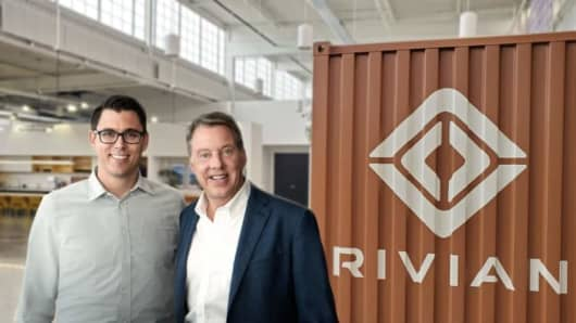 RJ Scaringe, Rivian founder and CEO, and Ford Executive Chairman Bill Ford announce a $500 million Ford investment in Rivian.