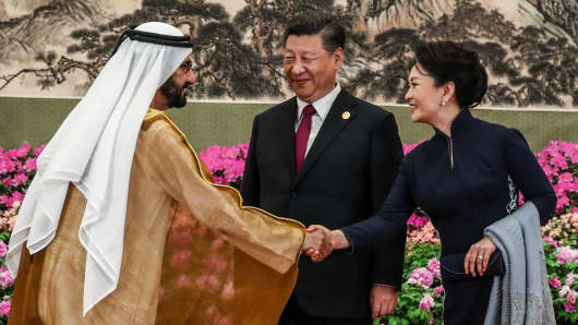 Mohammed bin Rashid Al Maktoum, vice president and prime minister of the United Arab Emirates, ruler of the Emirate of Dubai, China's President Xi Jinping and his wife Peng Liyuan (L-R) ahead of a reception marking the Belt and Road Forum at the National Museum of China on April 26, 2019 in Beijing.