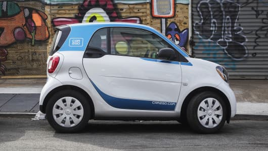 A Daimler Ag Smart Fortwo Car2go Car Sharing Automobile Sits Parked On Street In