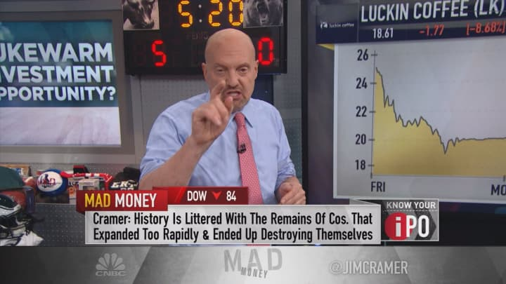Cramer: Be cautious buying Luckin Coffee's IPO