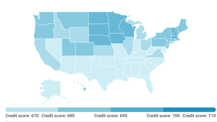Americans average credit score in every state