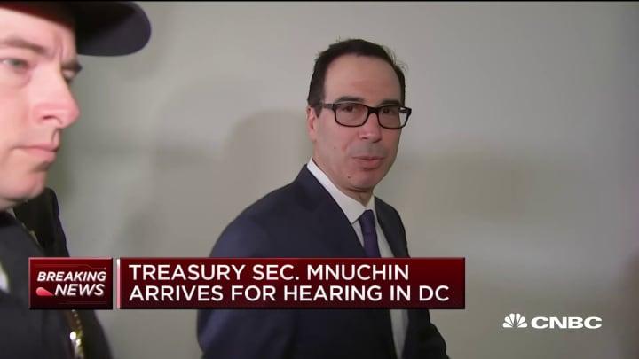 Treasury Secretary Steven Mnuchin arrives for a hearing on Capitol Hill