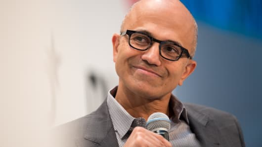 Microsoft CEO Satya Nadella speaking at the DLD (Digital-Life-Design) conference in Munich, Germany, on Jan. 16, 2017.