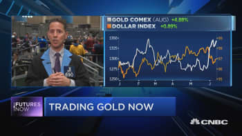 Traders discuss why gold is near highs as dollar also rallies