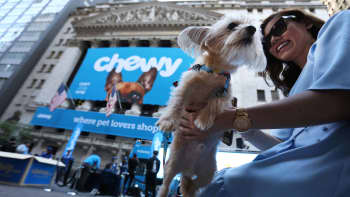 Stewie the Yorkie Chihuahua is seen outside the New York Stock Exchange ahead of the IPO for Chewy Inc., June 14, 2019. REUTERS/Andrew Kelly