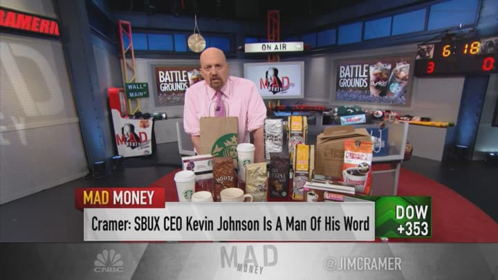 Starbucks and Dunkin' are 'defying the bears' — buy on a dip, Jim Cramer says