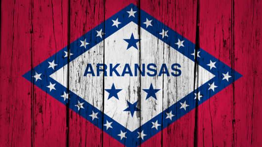 Arkansas State Flag Grunge Wooden Background