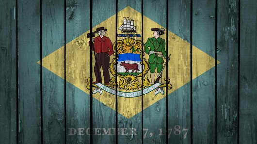 Wooden Delaware State flag