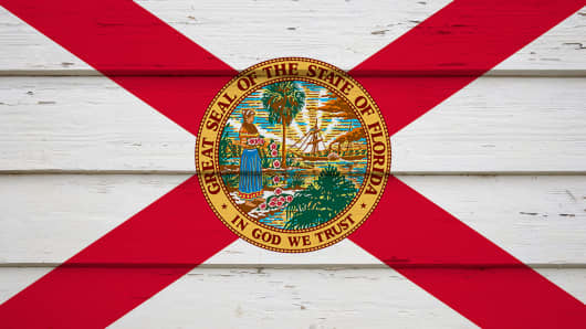 The red and white Florida flag