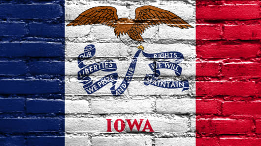 Iowa State Flag painted on brick wall