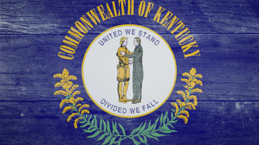 Wooden Kentucky flag