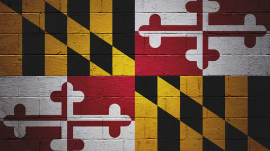 Maryland state flag painted on a wall