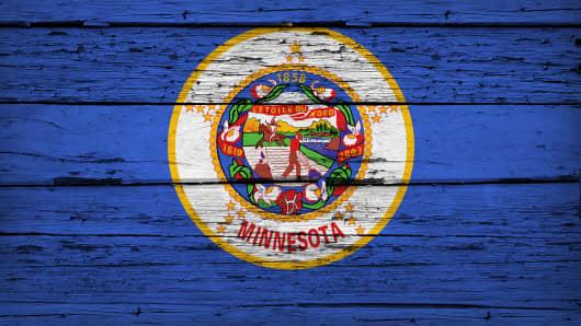 Minnesota State Flag Grunge Background