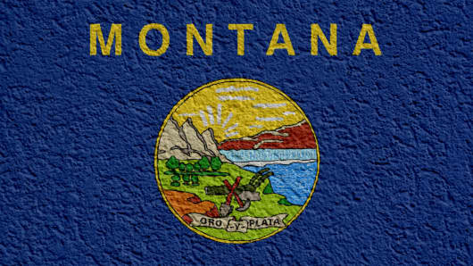 US State Politics Or Business Concept: Montana Flag Wall With Plaster, Texture