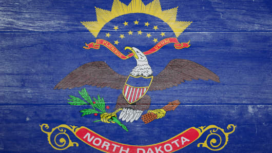 Wooden North Dakota flag