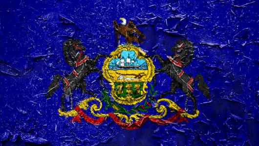 Pennsylvania state Flag emblem on metallic texture
